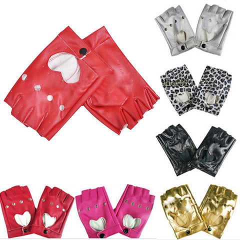 Women's Semi-finger Hip-hop Style Gloves Leather Heart Cutout Sexy Fingerless Gloves