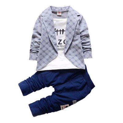Boys Formal Clothing Kids Attire Clothes Plaid Tracksuits - FKF Fashion