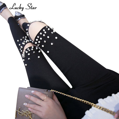 High Stretch Rivet Beading Hole Elastic Skinny Pencil Jeans