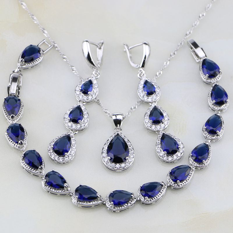 Water Drop Blue Cubic Zirconia White CZ 925 Sterling Silver Jewelry Set - FKF Fashion