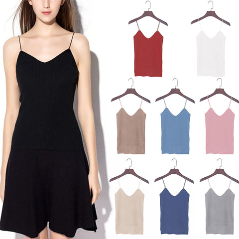 Knitted Tank Tops Women Camisole Vest Simple Stretchable VNeck
