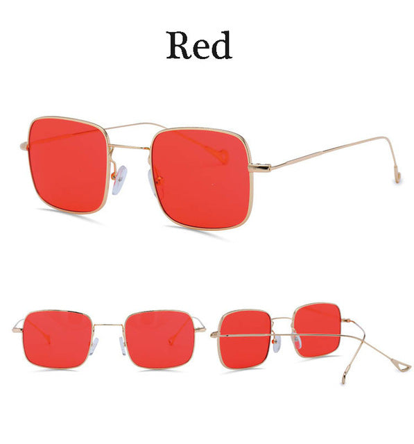 Vintage Square retro woman summer clear lens sunglasses with red lenses yellow green Oculos de sol