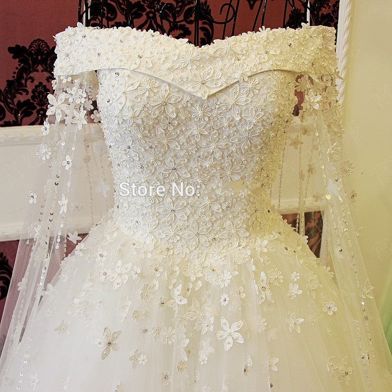 Bridal Gowns Beading Crystal Lace Flowers Long Bride Dress Luxury Style - FKF Fashion