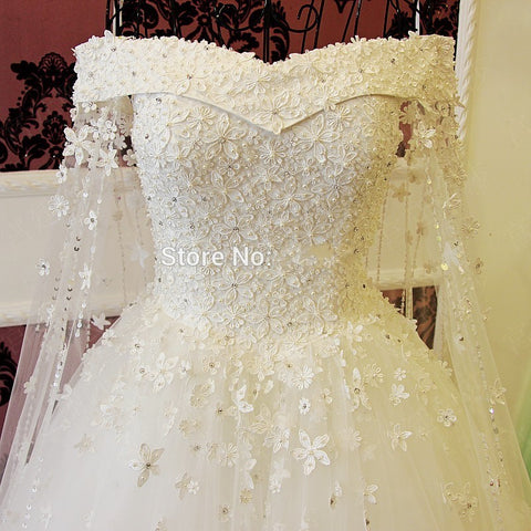 Bridal Gowns Beading Crystal Lace Flowers Long Bride Dress Luxury Style