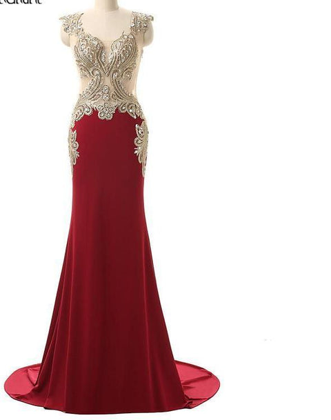 Burgundy Long Formal Mermaid with Embroidery Crystals Prom Evening Gown Floor Length