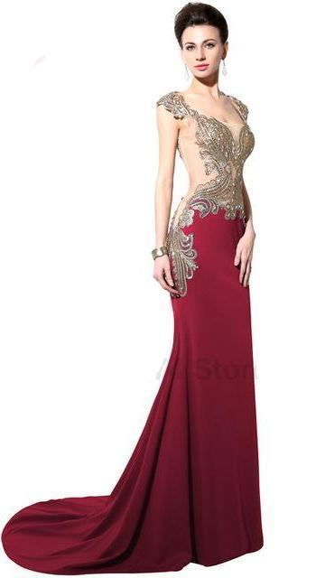 Burgundy Long Formal Mermaid with Embroidery Crystals Prom Evening Gown Floor Length - FKF Fashion