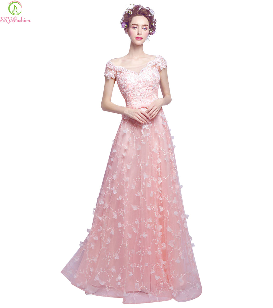Bride Banquet Sweet Pink Lace Flower Beading Floor-length Party Gown Formal Dresses - FKF Fashion