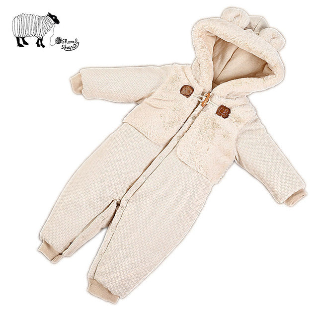 Baby Organic Cotton Hooded Rompers Spring Costume Infant Baby Cute Cartoon Snowsuit Jumpsuit Overall Clothes - FKF Fashion