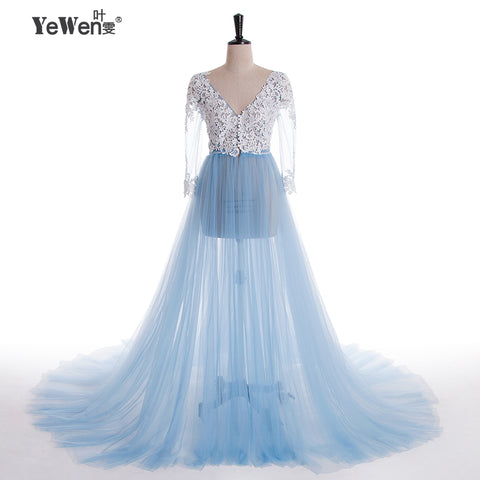 Lace Formal Long Sleeve See Through Blue Prom Evening Dresses
