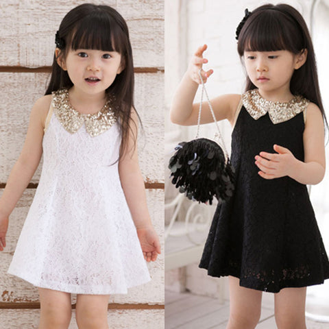 Fashionable Lace Sleeveless Sequin Collar Girls Party Dress