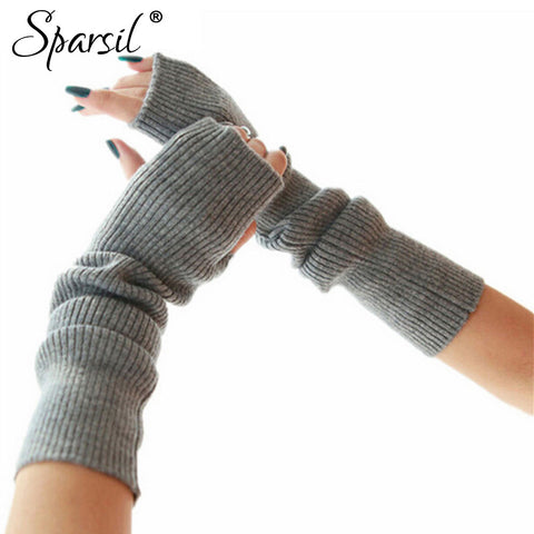 Women's Cashmere Blend Knitted Long Gloves Solid Color  Elbow Mittens