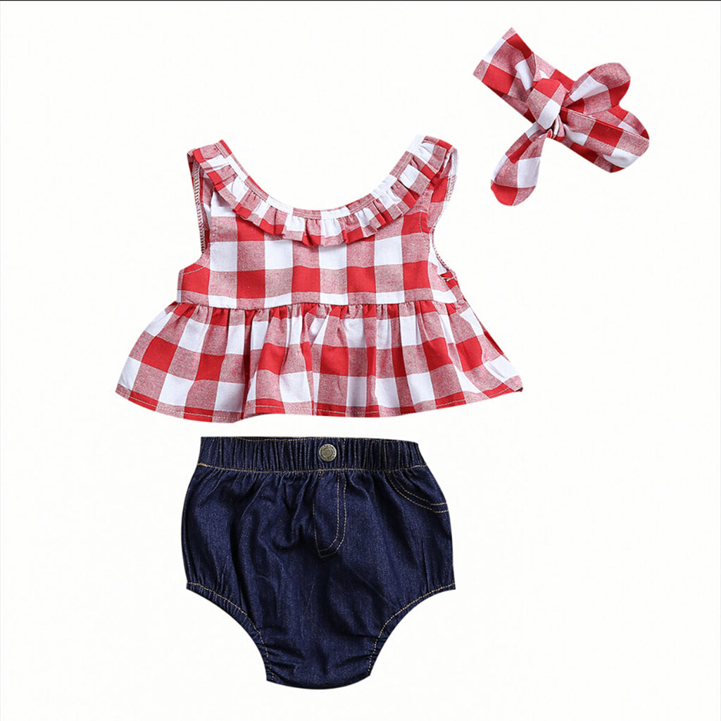 3PCS Red Plaid Skirted T-shirt Tops+Denim Shorts Bloomers Headband Outfit Set - FKF Fashion