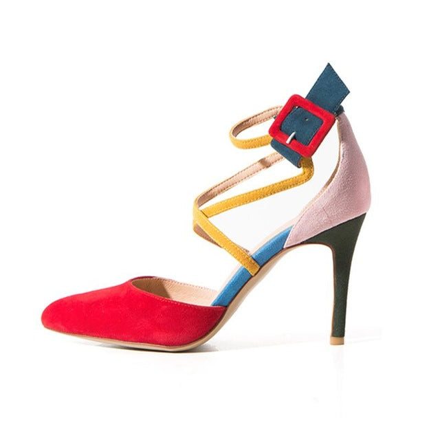 2017 Designer mixed colors ankle strap buckle modern women pumps - FKF Fashion