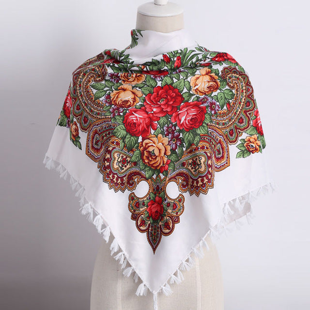 Russia new hot sell Wquare Fashion decorative and handmade tassel flower design Scarves for Women