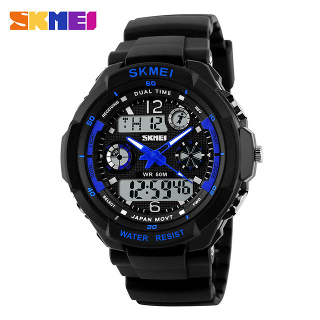 Shock Resistant Men LED Military Digital Quartz Wristwatch