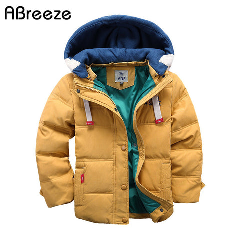 Abreeze children Down & Parkas 4-10T winter kids outerwear casual warm hooded jacket - FKF Fashion