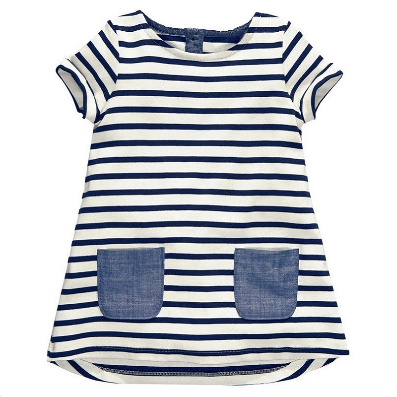 2017 New 1-7 Years Girls Blue Stripe Cotton Long Tops Kids Clothing - FKF Fashion