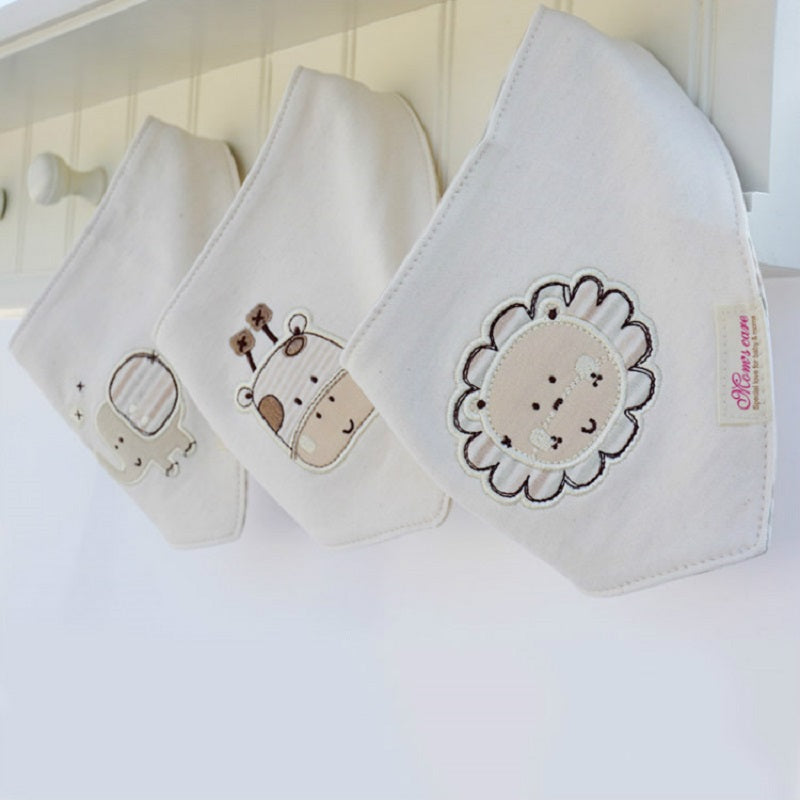 3pcs/lot Baby Bibs Bandana Lot 100% Organic Cotton Double Layers Infant Saliva Towel For Boys And Girls KF228-3 - FKF Fashion