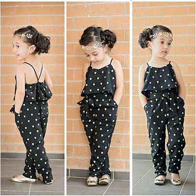 Baby Girls One-piece Sleeveless Heart Dots Jumpsuit 2-7Y - FKF Fashion