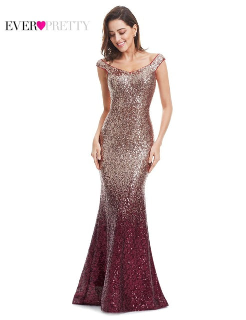 Long Sparkle Ever-Pretty 2017 New V-Neck Sequin Mermaid Maxi Evening Party Gown Dress