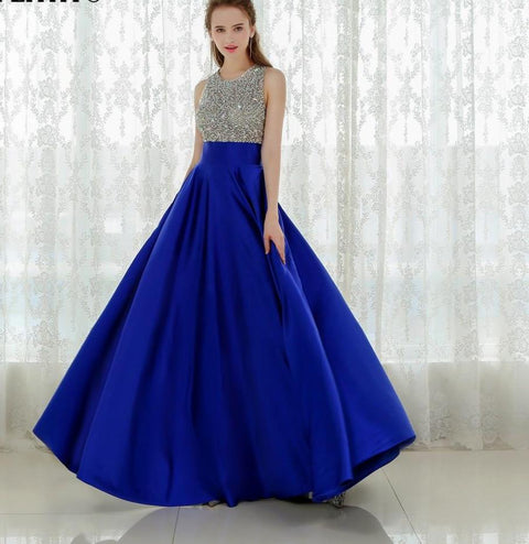 Royal Blue Long Evening Dress Crystal Top Vintage Prom Dresses