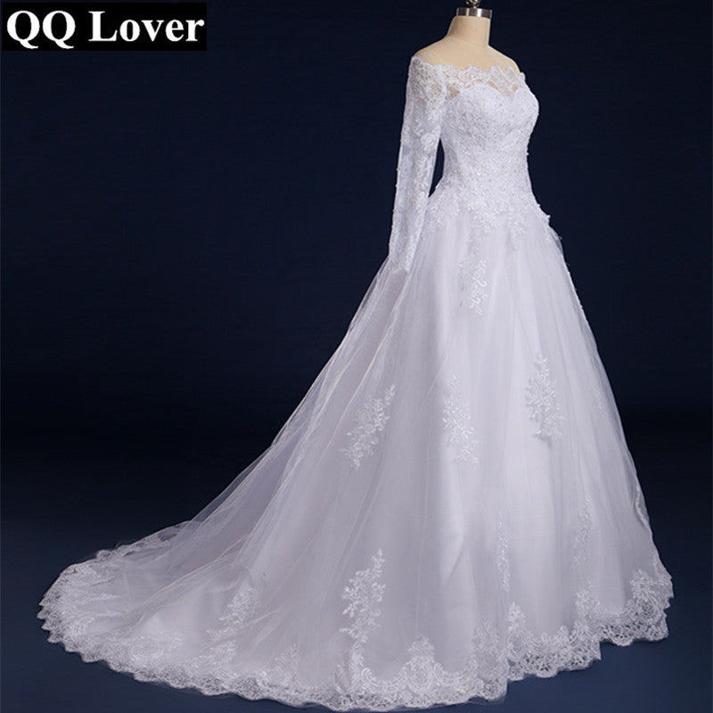 Boat Neck Long Sleeves Lace Wedding Dress With - FKF Fashion