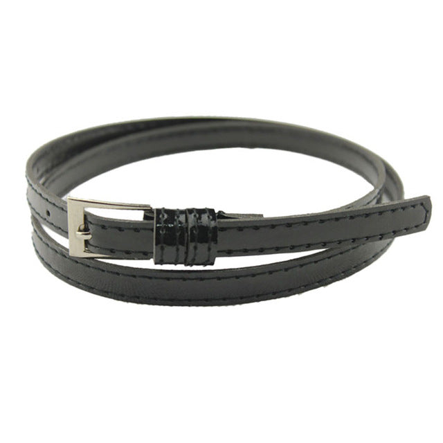 Beautiful Woman Multicolor Small pure Thin Leather Belt - FKF Fashion