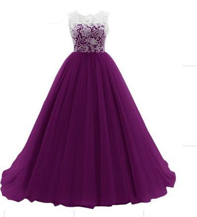 Simple Scoop lace and tulle Evening Gowns A-ling long Prom Dresses