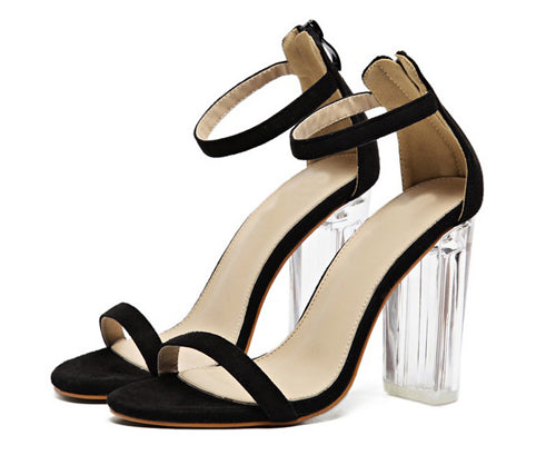 Ankle Strap Perspex High Heels PVC Clear Concise Buckle Strap Sandals - FKF Fashion