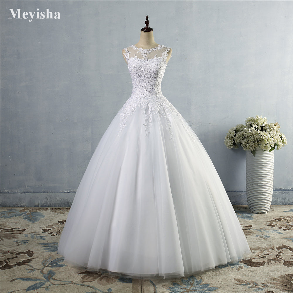 White Ivory Gown Lace up back Croset Wedding Dresses for bride - FKF Fashion