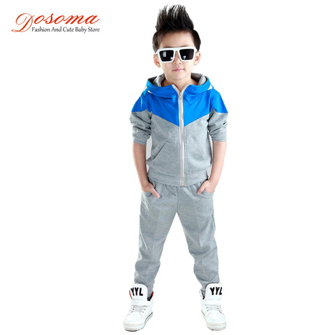 Hooded Jackets Pants Set Sports Suit For Boy