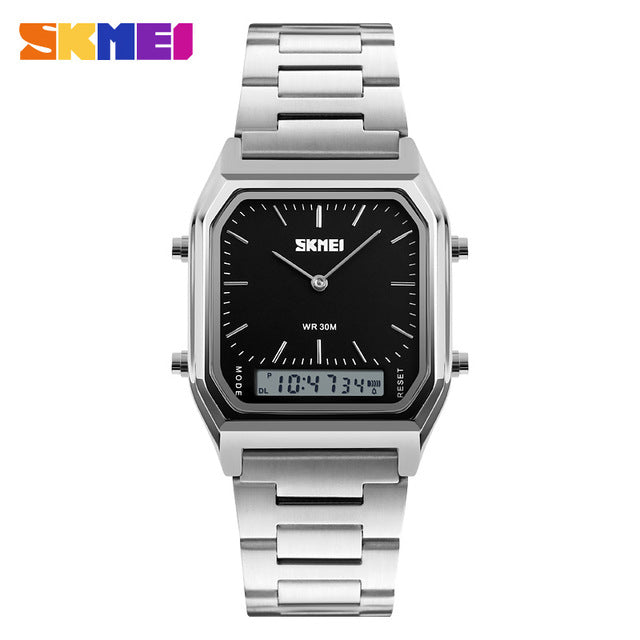 Dual Time Display LED Men's Analog Digital Watch