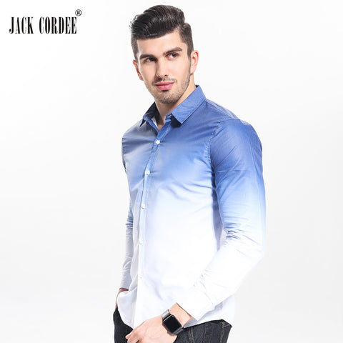 Men White Gradient Design Slim Fit Casual Long Sleeve Shirts