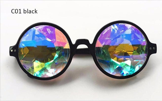 Round Mirror Rimless Yellow Kaleidoscope Catwalk Show Dazzle Artificial Diamond Lens SteamPunk 2017