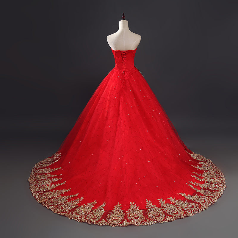 Lace Red Wedding Dress Long Train Plus Size Vintage Ball Gown Robe ...