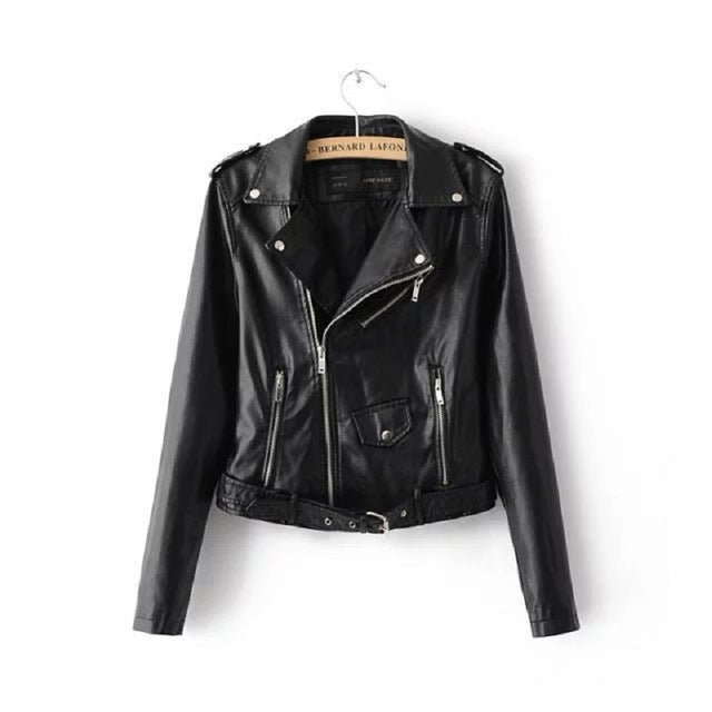 Bright Colors Good Quality Ladies Basic Street Women Short PU Leather Jacket - FKF Fashion