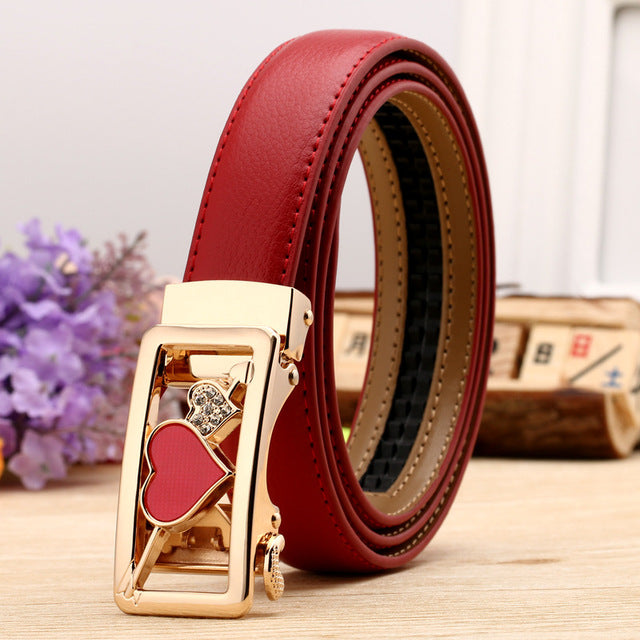 24 Style womens Fashion Leaf Automatic Buckle High Quality Leather Belts - FKF Fashion
