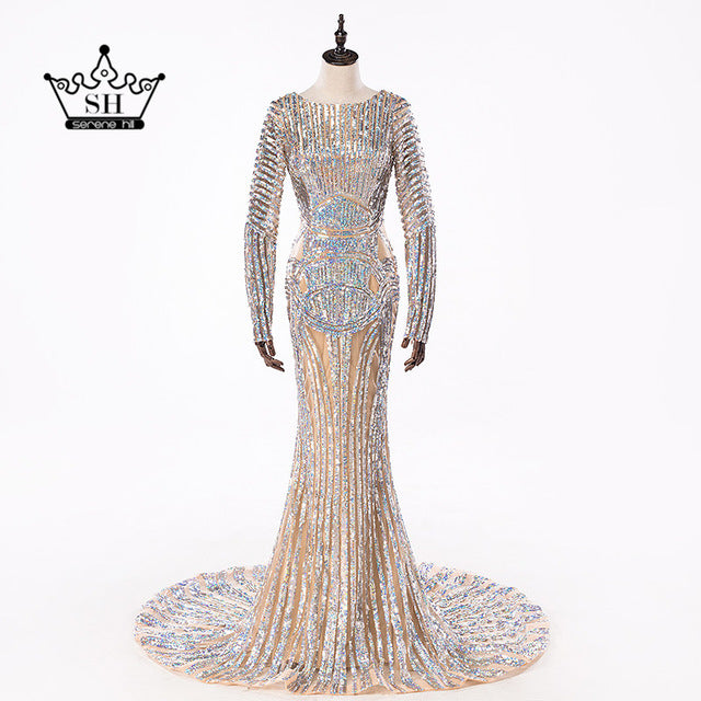Luxury Long Sleeve Sequined Mermaid Evening Dresses Backless  Robe De Soiree Long Party Gown