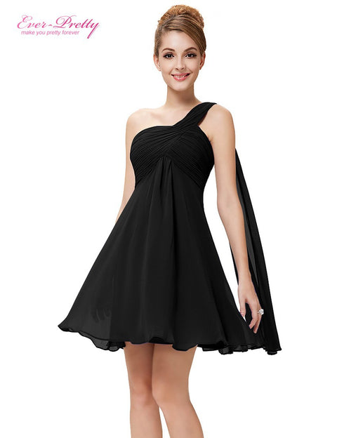 Ever Pretty One Shoulder Ruffles Padded Chiffon Short Dresses