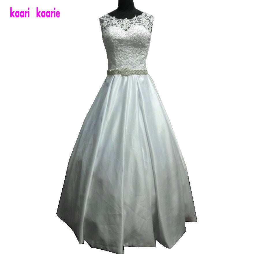 Gorgeous Lace Ivory/White Wedding Scoop Princess Satin Ball Gowns - FKF Fashion