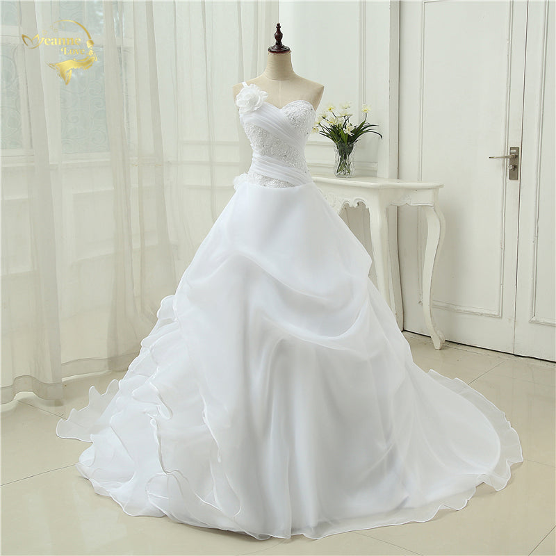 A line One Shoulder Bridal Applique Lace Organza Wedding Dresses - FKF Fashion