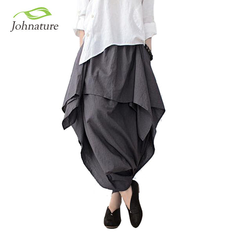 Designer Wide Leg Loose Linen Cotton Asymmetric Pants Skirt