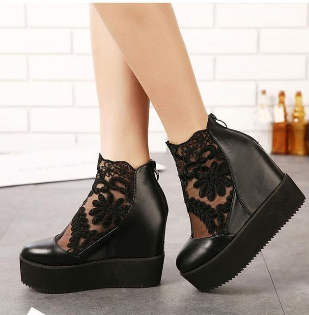 Fashion Lace Roman Wedge Platform Heels