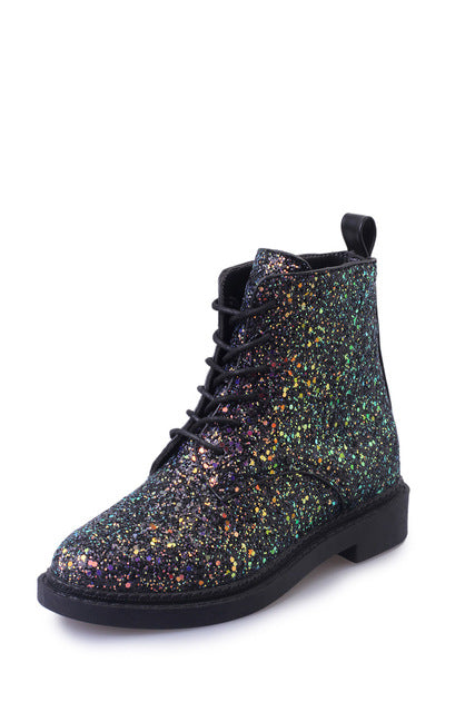 Designer Autumn Glitter Lace up Boots - FKF Fashion