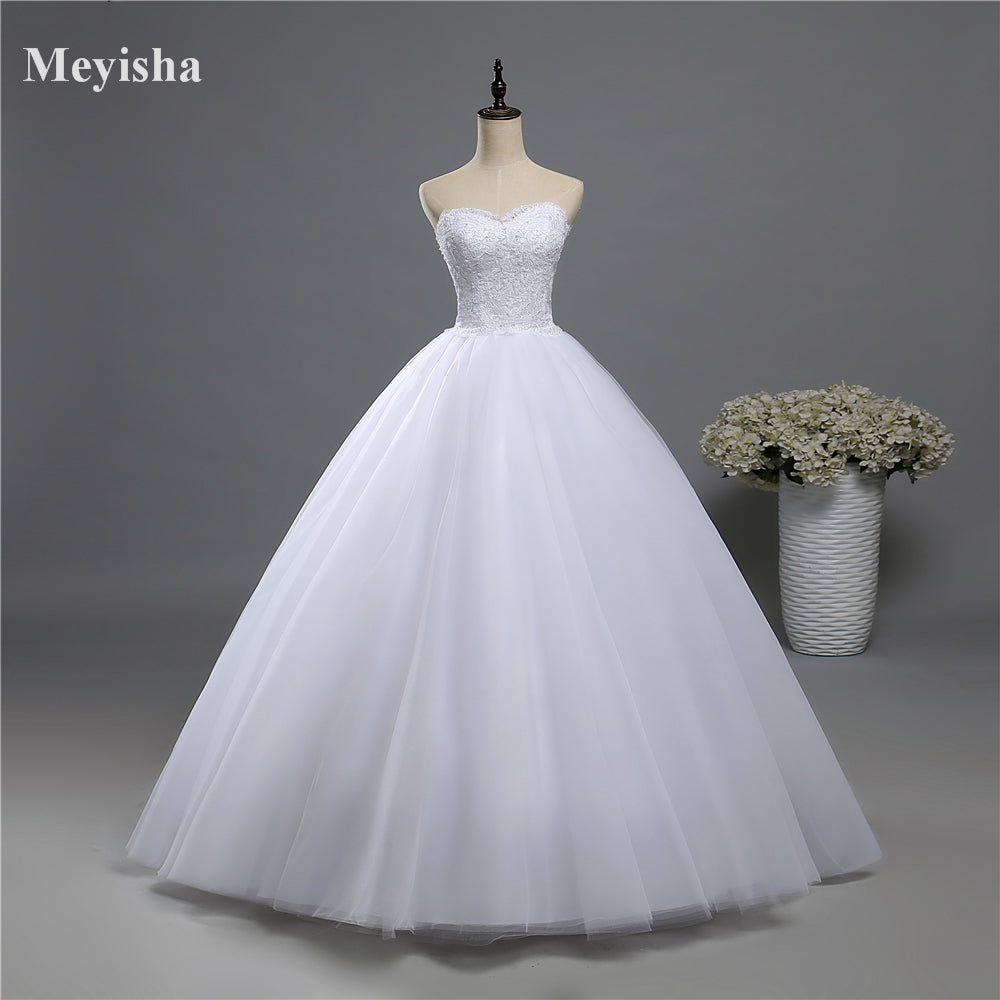 Beads Crystal White Ivory Wedding Dress for brides plus size formal sweetheart - FKF Fashion