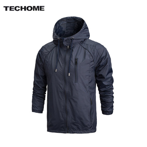Sportswear Men Fashion Thin Windbreaker Jacket Zipper Coats Outwear Hooded
