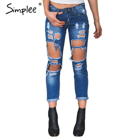 Cool Ripped Mid Waist Straight Jeans