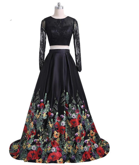 New Fashion Floral Flowers Pattern Print Two Piece Prom Dresses Open Back Lace Top Formal Evening Party Gown