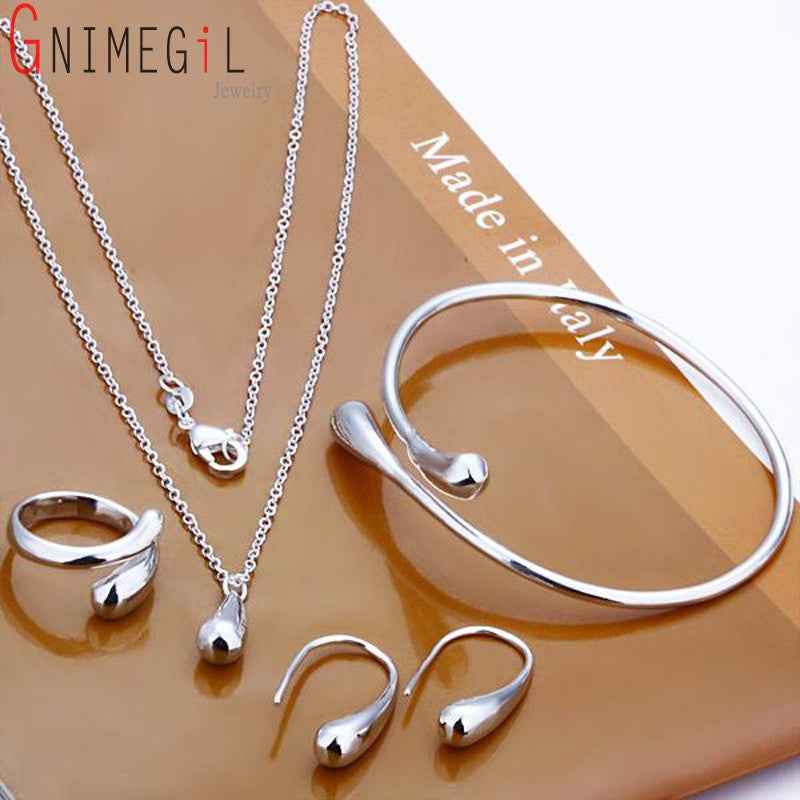 Stamped Silver Water Drop Bangles+Necklace+Rings+Earrings Sets for Women