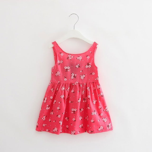 Baby Girls Printed Summer Cotton Vest Dress - FKF Fashion